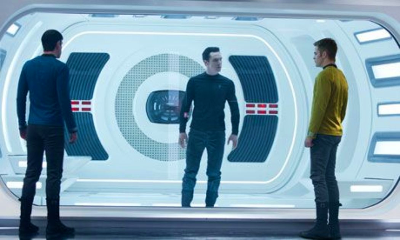 Pictured are men's uniforms in Star Trek Into Darkness' are reminiscent of moisture-wicking sportswear.